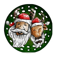 Deer Santa, Merry Christmas Round Filigree Ornament (two Sides)