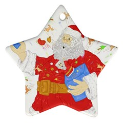Santa Surprise Star Ornament (two Sides)