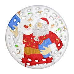 Santa Surprise Round Filigree Ornament (two Sides)