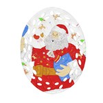 Santa Surprise Oval Filigree Ornament (Two Sides) Front