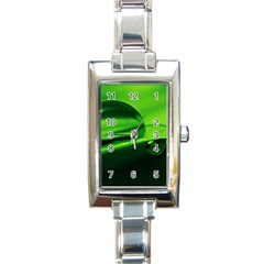 Green Drop Rectangular Italian Charm Watch by Siebenhuehner