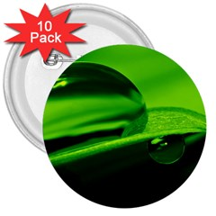 Green Drop 3  Button (10 pack)