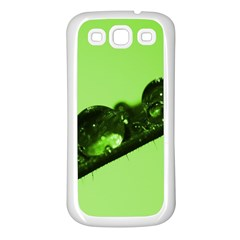 Green Drops Samsung Galaxy S3 Back Case (white) by Siebenhuehner