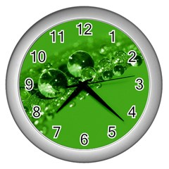 Green Drops Wall Clock (silver) by Siebenhuehner