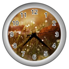 Waterdrops Wall Clock (silver) by Siebenhuehner