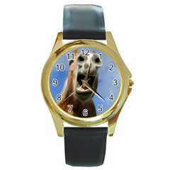 Haflinger  Round Metal Watch (gold Rim)  by Siebenhuehner