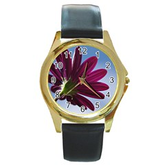 Daisy Round Metal Watch (gold Rim)  by Siebenhuehner