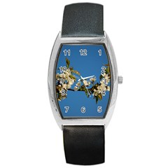 Cherry Blossom Tonneau Leather Watch