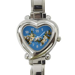 Cherry Blossom Heart Italian Charm Watch  by Siebenhuehner