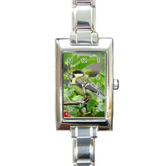 Songbird Rectangular Italian Charm Watch by Siebenhuehner
