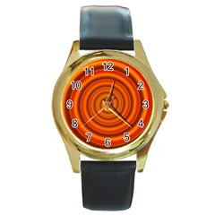 Modern Art Round Metal Watch (gold Rim)  by Siebenhuehner