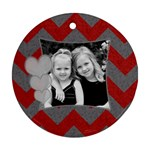 Round Chevron Heart Ornament - Ornament (Round)