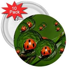 Ladybird 3  Button (10 Pack)
