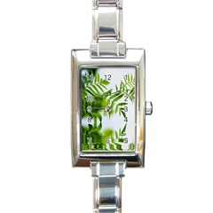 Leafs With Waterreflection Rectangular Italian Charm Watch