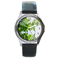 Leafs With Waterreflection Round Metal Watch (silver Rim) by Siebenhuehner