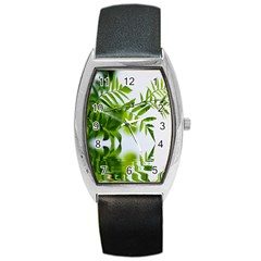 Leafs With Waterreflection Tonneau Leather Watch
