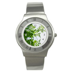 Leafs With Waterreflection Stainless Steel Watch (unisex)