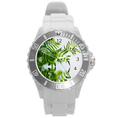 Leafs With Waterreflection Plastic Sport Watch (large) by Siebenhuehner