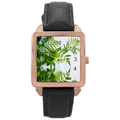 Leafs With Waterreflection Rose Gold Leather Watch  by Siebenhuehner