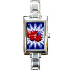 Love Rectangular Italian Charm Watch by Siebenhuehner