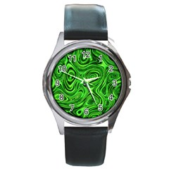 Modern Art Round Metal Watch (silver Rim) by Siebenhuehner