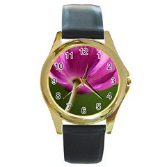 Poppy Round Metal Watch (gold Rim)  by Siebenhuehner