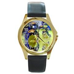 Marble Round Metal Watch (gold Rim)  by Siebenhuehner