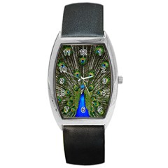 Peacock Tonneau Leather Watch