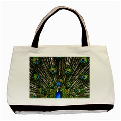 Peacock Twin Sided Black Tote Bag