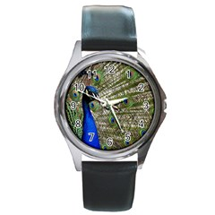 Peacock Round Metal Watch (silver Rim)