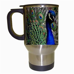 Peacock Travel Mug (white) by Siebenhuehner