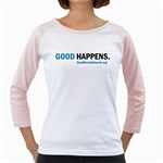 GoodHappens Women s Baseball Jersey w/ Colored Sleeves (Black, Pink, Blue)