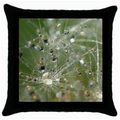 Dandelion Black Throw Pillow Case by Siebenhuehner