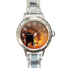 Dandelion Round Italian Charm Watch by Siebenhuehner