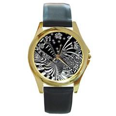 Space Round Metal Watch (gold Rim)  by Siebenhuehner