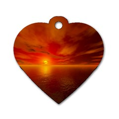 Sunset Dog Tag Heart (one Sided)  by Siebenhuehner