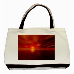 Sunset Twin Sided Black Tote Bag by Siebenhuehner