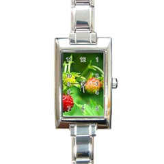 Strawberry  Rectangular Italian Charm Watch by Siebenhuehner