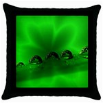 Drops Black Throw Pillow Case Front