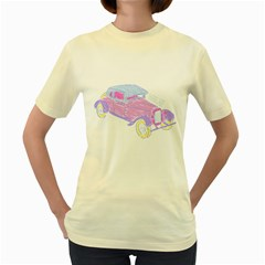 If Classic Car Wanna Be Colorful  Womens  T Shirt (yellow)