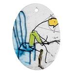 olp sit stick man Ornament (Oval)