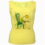 olp sit stick man Women s Yellow Tank Top