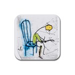 olp sit stick man Rubber Square Coaster (4 pack)