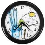 olp sit stick man Wall Clock (Black)