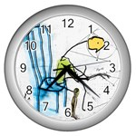 olp sit stick man Wall Clock (Silver)