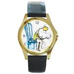 olp sit stick man Round Gold Metal Watch