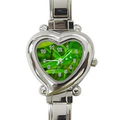 Bamboo Leaf With Drops Heart Italian Charm Watch  by Siebenhuehner