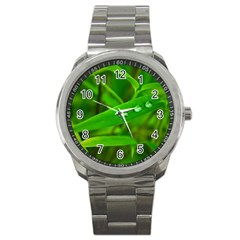 Bamboo Leaf With Drops Sport Metal Watch by Siebenhuehner