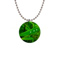 Bamboo Leaf With Drops Button Necklace