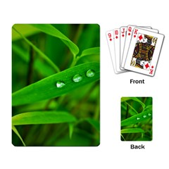Bamboo Leaf With Drops Playing Cards Single Design by Siebenhuehner